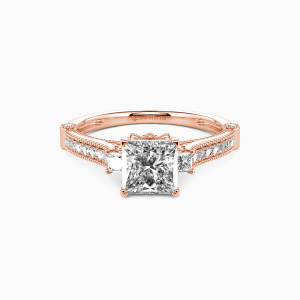 14K Rose Gold Eyes For You Engagement Side Stone Rings