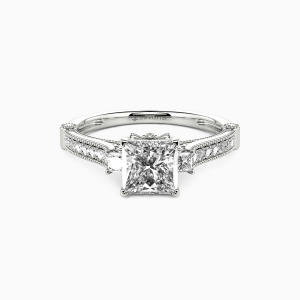 14K White Gold Eyes For You Engagement Side Stone Rings