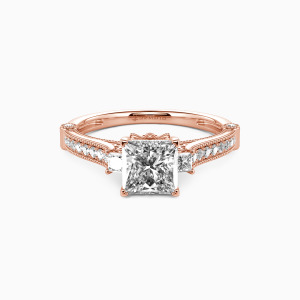 18K Rose Gold Eyes For You Engagement Side Stone Rings