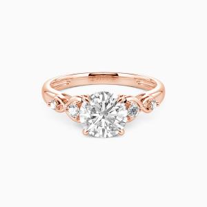 10K Rose Gold Everlasting Love Engagement Side Stone Rings