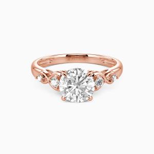 18K Rose Gold Everlasting Love Engagement Side Stone Rings