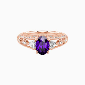 10K Rose Gold My Love Engagement Side Stone Rings