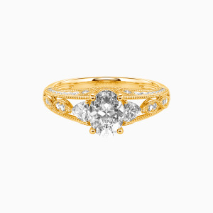 14K Gold My Love Engagement Side Stone Rings