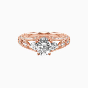 14K Rose Gold My Love Engagement Side Stone Rings