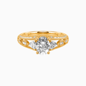 18K Gold My Love Engagement Side Stone Rings