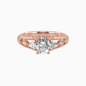 18K Rose Gold My Love Engagement Side Stone Rings