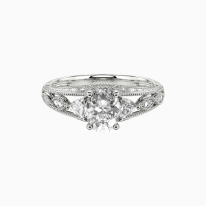 18K White Gold My Love Engagement Side Stone Rings