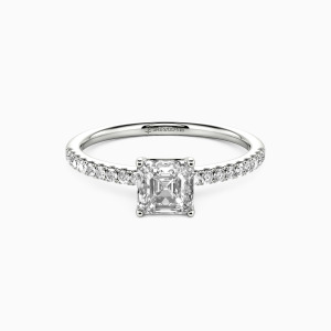 10K White Gold  My Queen Engagement Side Stone Rings