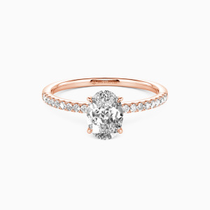 10K Rose Gold Never Be Apart Engagement Side Stone Rings
