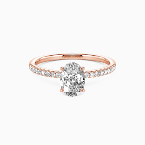 14K Rose Gold Never Be Apart Engagement Side Stone Rings