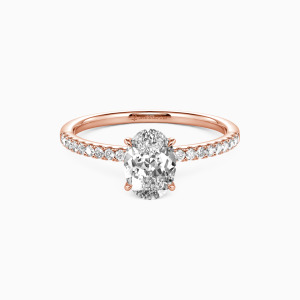 18K Rose Gold Never Be Apart Engagement Side Stone Rings
