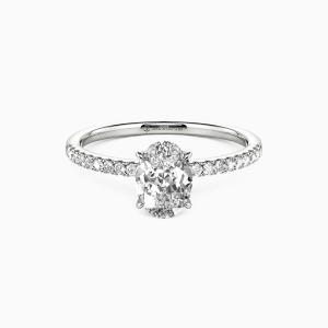 18K White Gold Never Be Apart Engagement Side Stone Rings