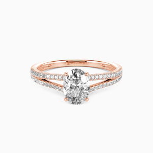 10K Rose Gold You & Me Engagement Side Stone Rings