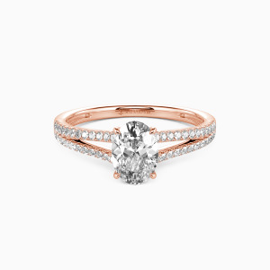 14K Rose Gold You & Me Engagement Side Stone Rings