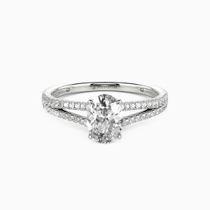 14K White Gold You & Me Engagement Side Stone Rings
