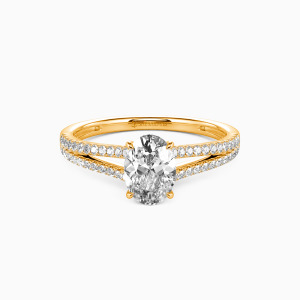 18K Gold You & Me Engagement Side Stone Rings