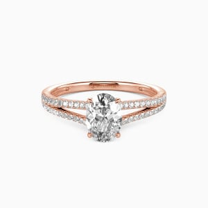 18K Rose Gold You & Me Engagement Side Stone Rings
