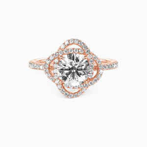 10K Rose Gold  Seal Of Love Engagement Side Stone Rings