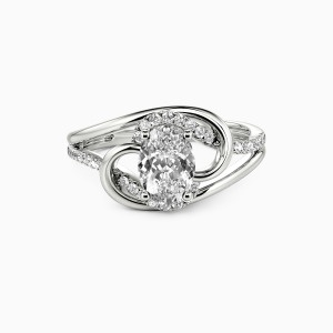10K White Gold Star in My Heart Engagement Side Stone Rings