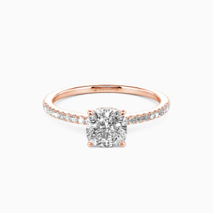 10K Rose Gold You Make My Day Engagement Halo Rings
