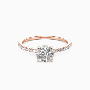 14K Rose Gold You Make My Day Engagement Halo Rings