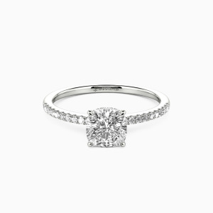 14K White Gold You Make My Day Engagement Halo Rings