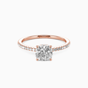 18K Rose Gold You Make My Day Engagement Halo Rings
