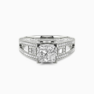 10K White Gold Now And Always Engagement Side Stone Rings