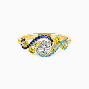 10K Gold The Starry Night Engagement Side Stone Rings