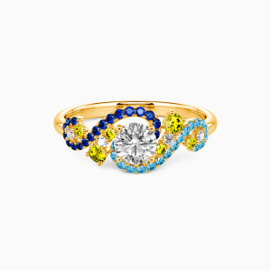 14K Gold The Starry Night Engagement Side Stone Rings