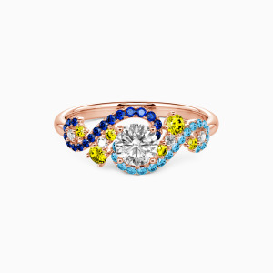 14K Rose Gold The Starry Night Engagement Side Stone Rings
