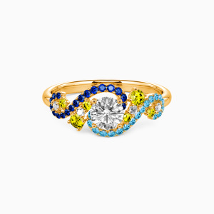 18K Gold The Starry Night Engagement Side Stone Rings