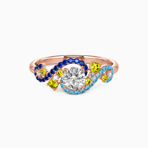 18K Rose Gold The Starry Night Engagement Side Stone Rings