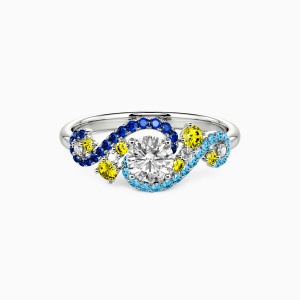 18K White Gold The Starry Night Engagement Side Stone Rings