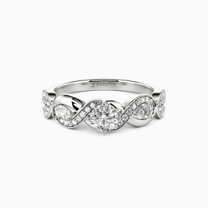 10K White Gold Share One Lifetime With You Engagement Side Stone Rings