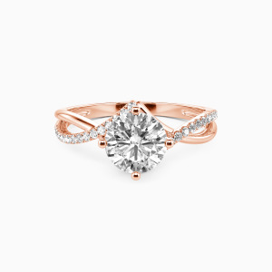 10K Rose Gold I Will Love You Past Forever Engagement Side Stone Rings