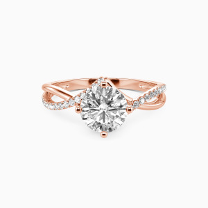 14K Rose Gold I Will Love You Past Forever Engagement Side Stone Rings