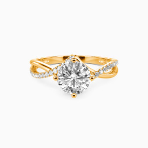 18K Gold I Will Love You Past Forever Engagement Side Stone Rings