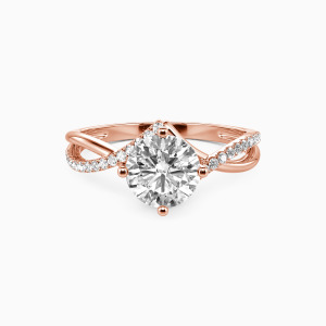 18K Rose Gold I Will Love You Past Forever Engagement Side Stone Rings