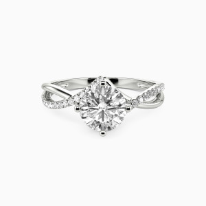 18K White Gold I Will Love You Past Forever Engagement Side Stone Rings