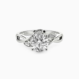 10K White Gold Yes & Always Engagement Side Stone Rings