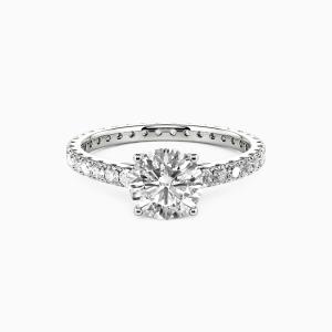 10K White Gold Star Girl Engagement Side Stone Rings