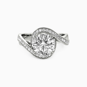 10K White Gold Hold Your Hand Engagement Side Stone Rings