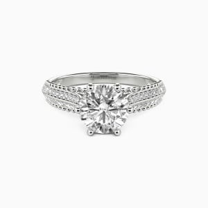 10K White Gold Moving Forward Together Engagement Side Stone Rings