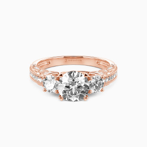 10K Rose Gold Give You My Love Engagement Three Stone Rings