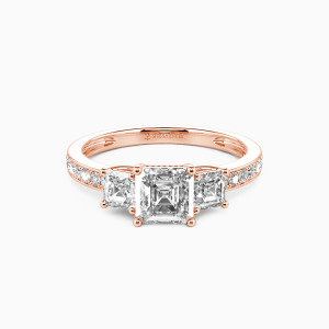 10K Rose Gold You Are My Angel Engagement Three Stone Rings