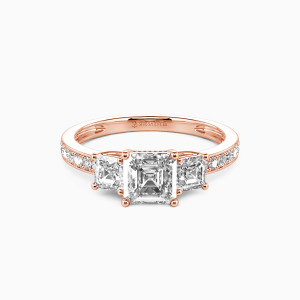 14K Rose Gold You Are My Angel Engagement Three Stone Rings
