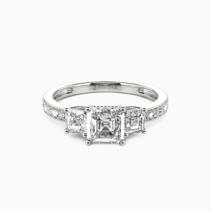 14K White Gold You Are My Angel Engagement Three Stone Rings