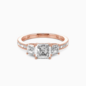 18K Rose Gold You Are My Angel Engagement Three Stone Rings