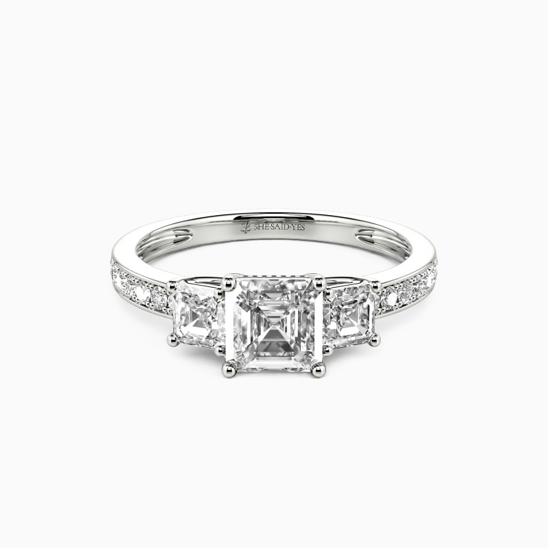 """SHE·SAID·YES """"You Are My Angel"""" Asscher Cut Engagement Ring"""